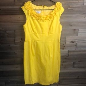 London Time Yellow Ruffle Neck Dress Size 14